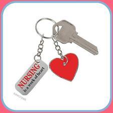 NURSE KEY RING/CHAIN (1) ~~NURSING is a work of heart~~ Nurse appreciation gift