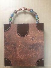 Custom Wooden Faux Antique Handbag Glass & Copper Bead Handles Brass Clasp