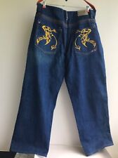 Coogi denim blue jean. XL-1X. Embroider embellish. Boot cut. W 38. Hip 50. L 34.