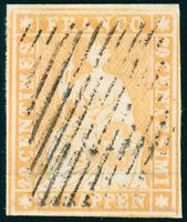 SCHWEIZ 1854, MiNr. 16 II A ym, sauber gestempelt, gepr. Hermann, Mi. 200,-