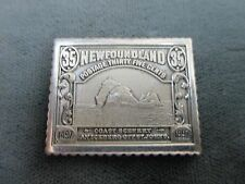 """RARE STERLING SILVER NEWFOUNDLAND 35 CENTS POSTAGE STAMP  1"""" LONG"""