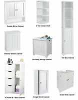 New White Wooden Bathroom Cabinet Shelf Furniture Cupboard Bedroom Storage Unit