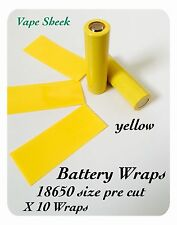 Envolturas de batería Amarillo X 10 piezas Termocontraíble 18650 PVC Manga pre corte
