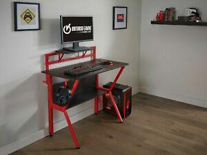 Grade A Virtuoso Black Gaming Computer Desk Table Red Headphones Holder