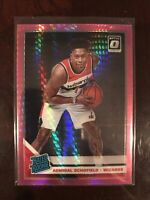 2019-20 Donruss Optic Holo Hyper Pink Admiral Schofield Wizards Rookie Card #187