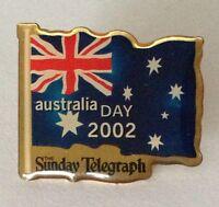 Australia Day 2002 The Sunday Telegraph Flag Pin Badge Rare Vintage (H2)