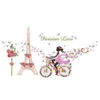 Flower Fairy Eiffel Tower Bike Romantic Removable Wall Sticker Home Room Decor