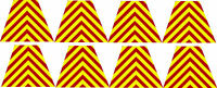 """Firefighter Helmet Decal - 8 Chevron Red Yellow Reflective Tetrahedrons 1.75"""""""