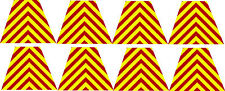 Firefighter Helmet Decal - 8 Chevron Red Yellow Reflective Tetrahedrons 1.75""