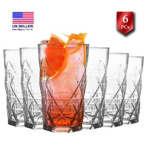 Crystal Highball Glasses, Clear Drinking Glasses Set of 6, 15 ½ oz