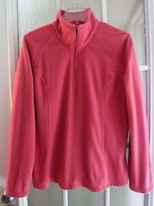 Lands' End Therma Check Cranberry 1/3Zip Up Long/S Fleece Shirt Women L/P Mint