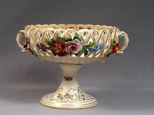 Carl Thieme Dresden Reticulated Flower-Encrusted Footed Bowl Compote German