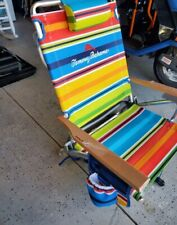 Tommy Bahama Beach Chair Backpack Drink Holder Stripes Fabric Pattern BRAND NEW