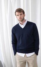 Nueva HENBURY H730 para hombre azul marino con cuello en V Jersey de lana de cordero