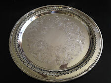 """WM ROGERS 15"""" ROUND SILVERPLATE SERVING TRAY PIERCED AND ROPE RIM MARKED 172"""