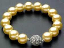 "12mm AAA Gold South Sea Shell Pearl Bracelet 7.5"" Magnet clasp"