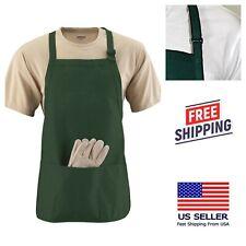 (2Pk) Forest Green Bib Apron 3-Pocket Restaurant Kitchen Cooking Uniforms Craft