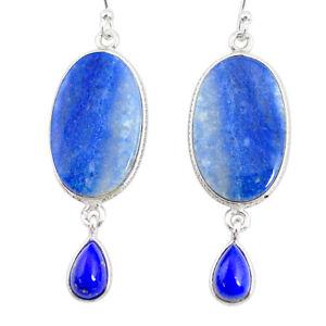 Liquation SALE 20.50cts Natural Blue Quartz Palm Stone Dangle Earrings R86981