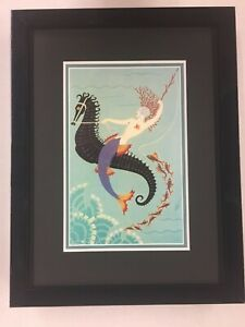 Erte Water (Mermaid) book plate print recently custom framed