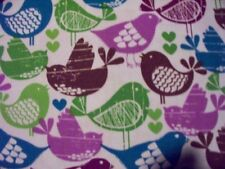 BIRDS PURPLE & TEAL HEARTS BIRD PRINT COTTON FABRIC FQ