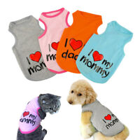 Small Dog T-shirt I Love Mommy Daddy Summer Sleeveless Clothes for Pet Puppy Cat