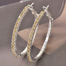 9k white gold filled Around Champagne Cubic Zirconia Ladies Hoop Earrings F4553