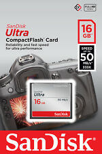 SanDisk 16GB 16 GB CF Ultra Compact Flash Memory Card 50MB/s SDCFHS-016G RETAIL
