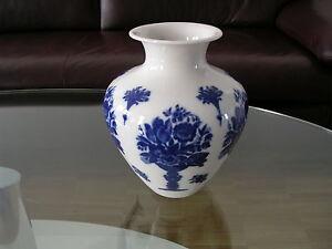 Heinrich Bavaria Selb Vase Flower Vase Weiß White Kobalt Cobalt 1940 Fourties 1
