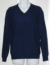 CLUB ROOM Estate 2-Ply Cashmere Midnight Blue Men's V-Neck Sweater S $195 NWT