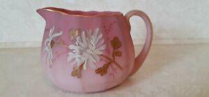 Mt. Washington Glass Peach Blow Creamer, Hand Painted Floral