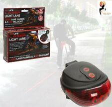 5 LED LASER LANE CYCLE LIGHT 2 Red Beam Bicycle Back Tail Lamp Bike Rear Lights