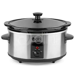 Dihl Slow Cooker 3.5L Removable Ceramic Pot Bowl Glass Lid Stainless Steel