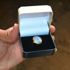 Checker Cut AAA+ Fire Rainbow Moonstone Romantic Gift Round Shape Gold Ring