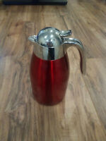 Rare STARBUCKS 2012 Red 32 OZ PITCHER COFFEE TEA POT CARAFE  Metal insulated