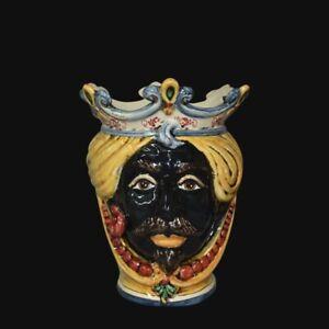 Testa di moro in Ceramica di Caltagirone uomo nero vaso fatta e decorata a mano