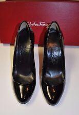 Beautiful Designer SALVATORE FERRAGAMO Black Patent Pump Shoes 7 C  ITALY