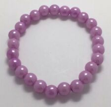 Lilac Purple Metallic Acrylic Bead Pearl Elasticated Bracelet Bangle A075