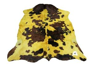 """Yellow & Brown Dyed COWHIDE RUG – Size: 6'8""""x 6' Ft – Premium Cow Hide Rug"""