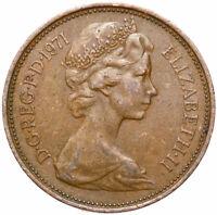 Großbritannien - England - Elizabeth II - Münze 2 NEW PENCE 1971 Straußenfedern