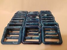 """Lot of 30 Square 3"""" Three Inch Blue Marble Plastic Marbella Macrame Craft Rings"""