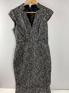 Karen Millen Dress US 10 Black White Wool Blend Lined V Neck Sleeveless AB7