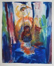 Charming small, framed painting, gouache on paper by Franz Rheinhardt Junior