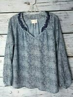 Stitch Fix Skies Are Blue Top Embroidered Long Sleeves Size Extra Small XS