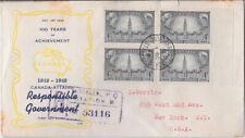 Canada FDC: 1948 4¢ Responsible Government FDC Sc #277 Block FDC - 277-3