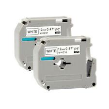 2pk M K231 Mk231 Fit Brother P Touch M Tape 12mm White Label Maker Pt90 Pt80 Us