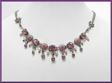 NEW VINTAGE PILGRIM SILVER CHAIN NECKLACE PINK SWAROVSKI CRYSTALS PEARLS ANGELS