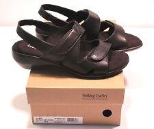 WALKING CRADLES Women's LARK Sandals BLACK Leather US 7 WW NEW IN BOX