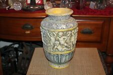 Italian Majolica Pottery Vase Angels Cherubs Hand Painted Greek Roman Gimbel Bro