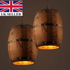 Naure Wood Wine Barrel Hanging Fixture Ceiling Pendant Lamp Lighting Lights DIY