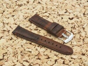TZEVELION Antiqued Cracked French Leather Buckskin Lined Watch Strap 22mm Brown